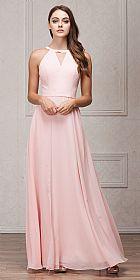 High Round Neck Princess Cut Long Bridesmaid Dress #a826
