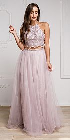 Dazzling Embroidered Two Piece Halter Prom Dress #a916