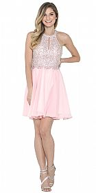 Halter Neck Beaded Bust Short Chiffon Prom Party  Dress #asu022