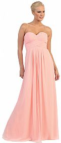 Strapless Empire Cut Pleated Long Bridesmaid Prom Dress #p8658
