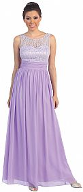 Round Neck Lace Bodice Long Formal Bridesmaid Dress #p8769