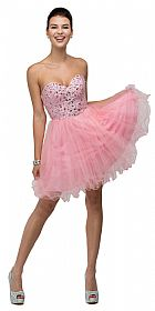 Strapless Bejeweled Bodice Short Tulle Prom Party Dress #p9001