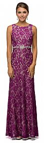 Sleeveless Jewel Waist Fitted Lace Long Formal Evening Dress #p9031