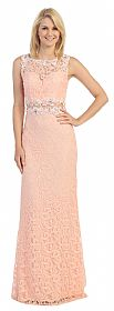 Sheer Lace Bejeweled Long Formal Evening Prom Dress #p9040