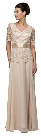 V-Neck Half Sleeves Lace Bodice Long Formal MOB Dress #p9044