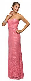 Strapless Sweetheart Neck Long Lace Formal Bridesmaid Dress #p9062