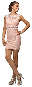 Form Fitting Sheer Lace Short Cocktail Party Dress #p9099