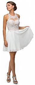 Sheer Lace Bodice Chiffon Short Homecoming Prom Party Dress #p9102