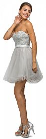Strapless Lace Bodice Short Tulle Homecoming Party Dress #p9109