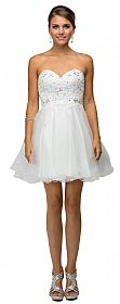 Strapless Lace Bodice Tulle Short Homecoming Party Dress #p9181