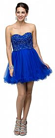 Strapless Beaded Lace Mesh Short Homecoming Party Dress #p9206