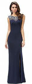 Jewel Accents Sheer Back & Neck Long Formal Prom Dress #p9249