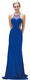 Bejeweled Sheer Mesh Top Floor Length Formal Prom Dress #p9274