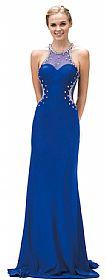 Bejeweled Sheer Mesh Top Floor Length Formal Prom Dress #p9274