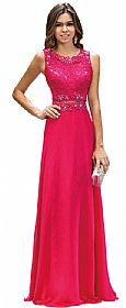 Mock Two Piece Lace Bodice Floor Length Prom Dress #p9322