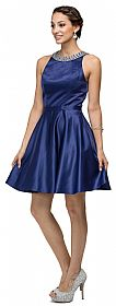 Jeweled Collar Scoop Neck Short Homecoming Party Dress #p9463