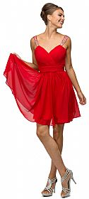 Ruched Bodice Beaded Straps Short Bridesmaid Dress #p9472
