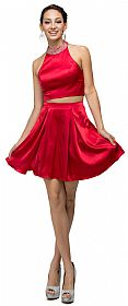 Jeweled Collar Two Piece Short Homecoming Party Dress #p9495
