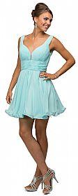 V-Neck Ruched Bodice Short Homecoming Bridesmaid Dress #p9496