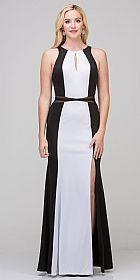High Neck Color Block Mesh Insert Long Formal Evening Dress #s17212