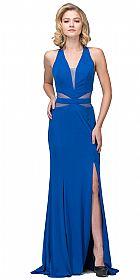 Halter Neck Mesh Panels Front Slit Long Formal Prom Dress #s17214