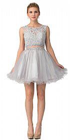 Beaded Lace Bust Mesh Babydoll Skirt Short Dress #s6178