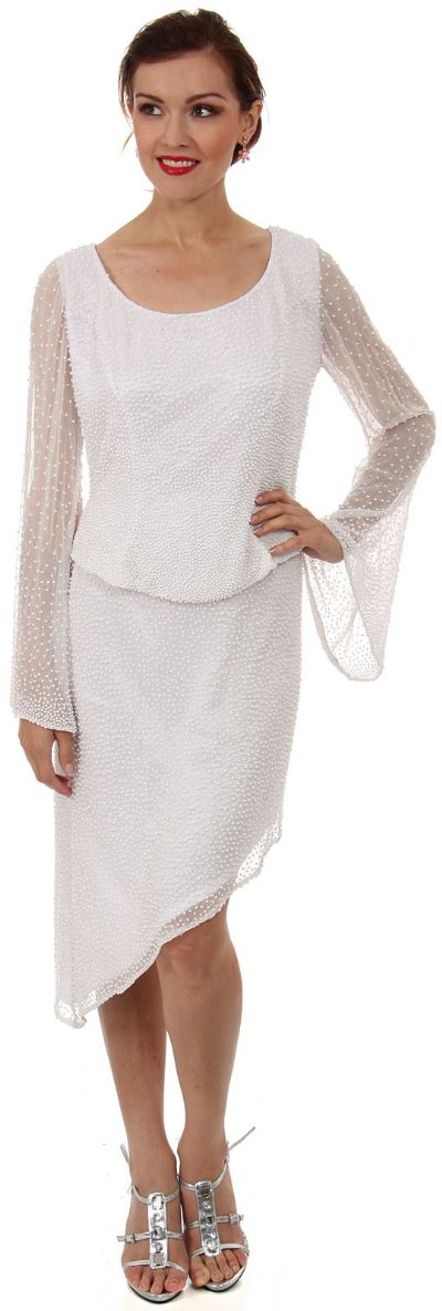 Round Neck Full Sleeves 2-Piece Beaded Cocktail Dress