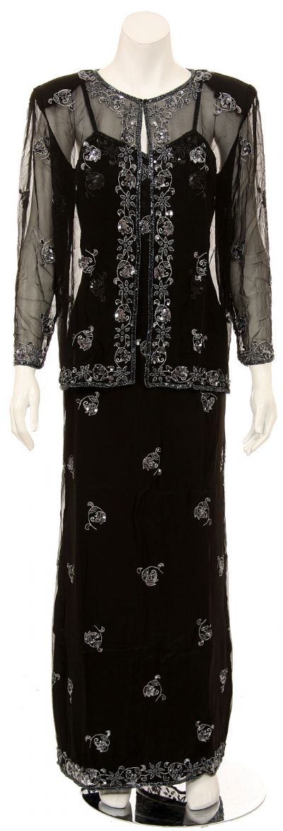 Two Piece Full Length Spaghetti Evening Gown and Jacket