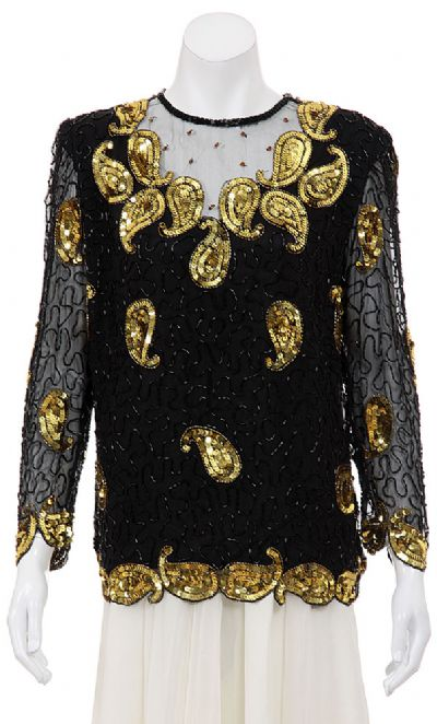 Golden Flares Hand Beaded Blouse