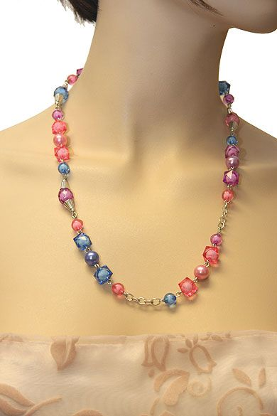 Brightly Colored Costume Jewelry Necklace