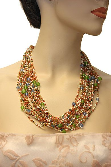 Multi Colored Multi Strand Costume Necklace