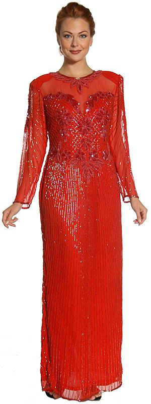 See Thru Bodice and Long Sleeved Beaded Dress