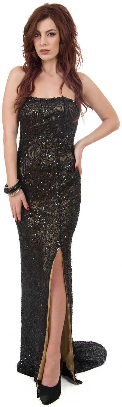 Strapless Beaded Formal Prom Dress with Train & Front Slit