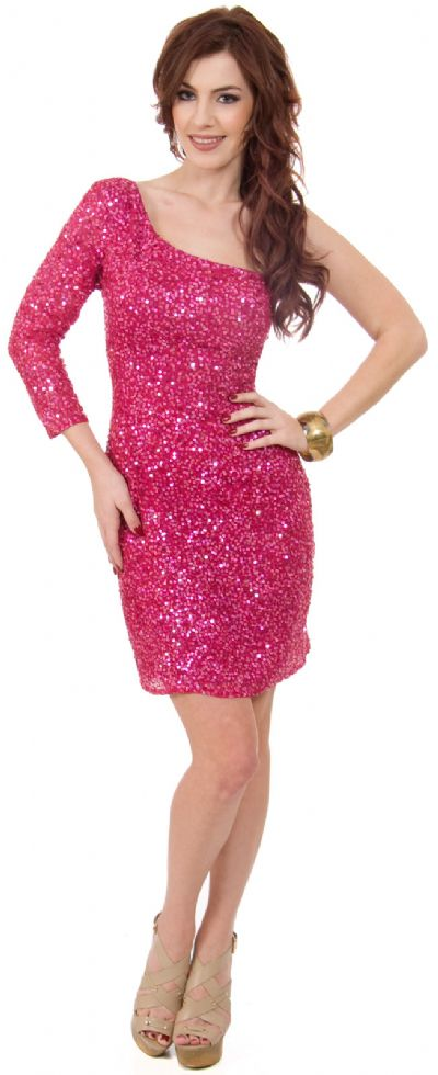 One Sleeve Fully Sequined Short Prom Party Dress