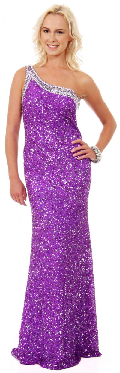 One Shoulder Bare Back Sequined Long Formal Prom Dress