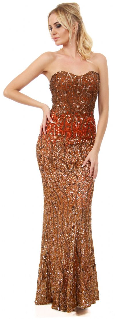 Strapless Exquisitely Sequined Long Formal Prom Dress