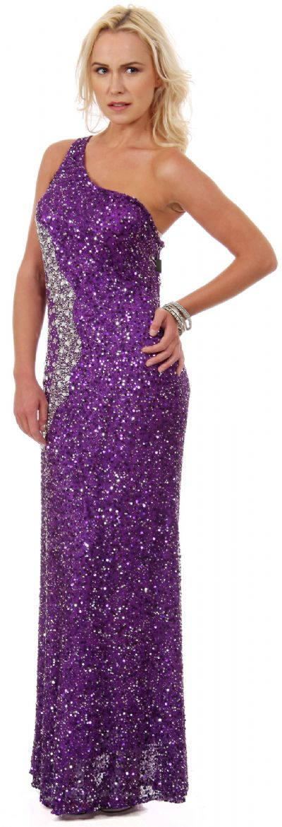 Long Sequined Formal Prom Dress with Rhinestones Waist