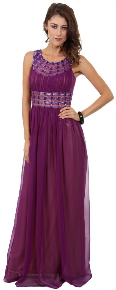 Round Neck Empire Cut Sequined Floor Length Prom Dress