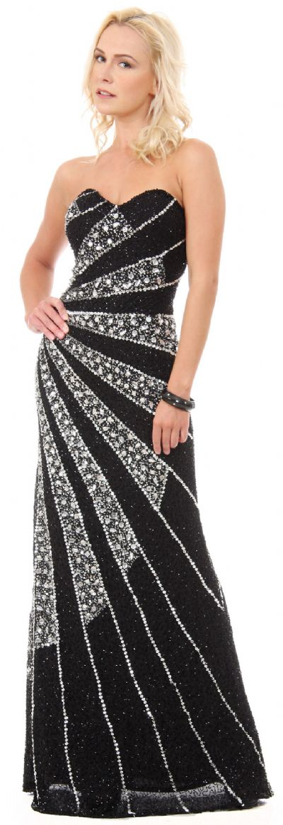Strapless Sequins & Rhinestones Long Formal Prom Dress