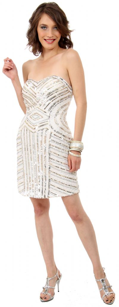 Strapless Short Geometric Sequins Pattern Party Prom Dress