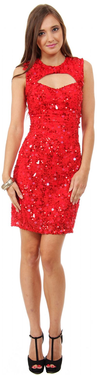 Keyhole Neck & Back Short Sequined Party Prom Dress