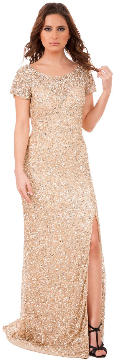 Short Sleeves Cutout Back Long Sequined Formal Prom Dress