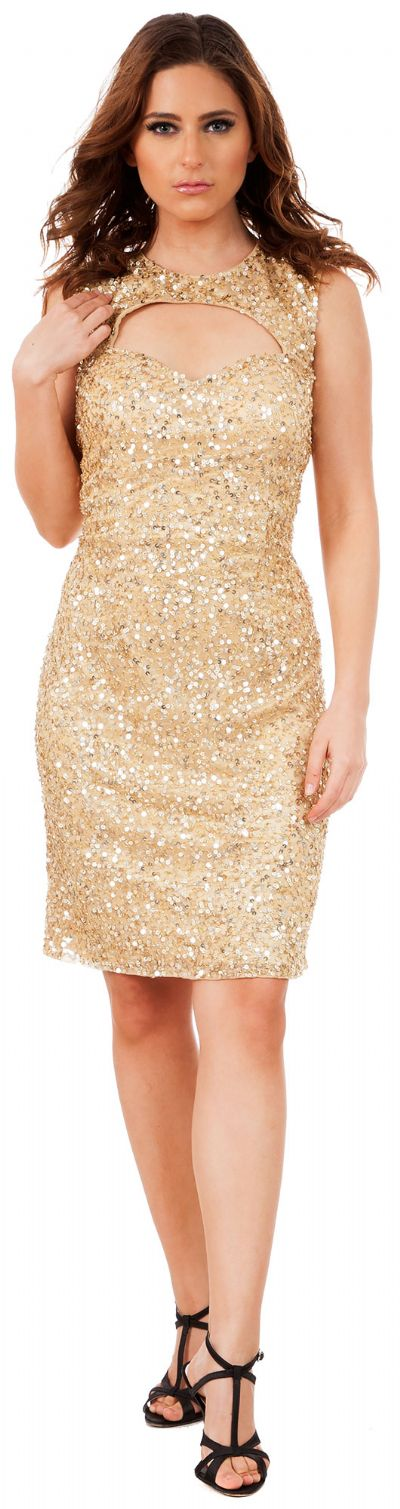 Keyhole Front & Back Short Sequined Formal Party Dress