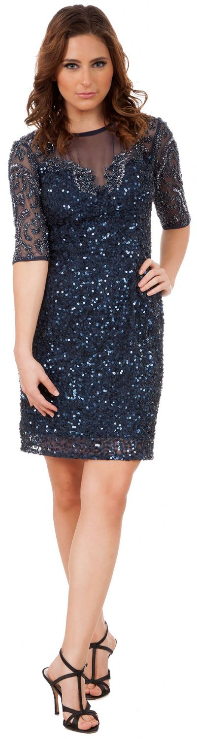 Half Sleeves Elegant Sequins Beaded Short Formal Prom Dress