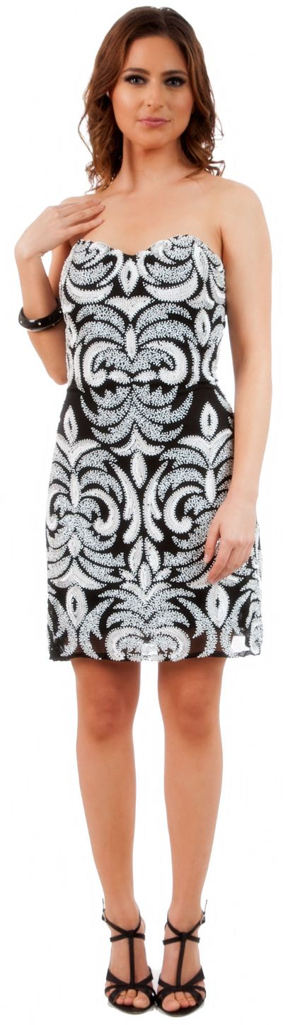 Short Fitted Beaded Short Shift Party Dress