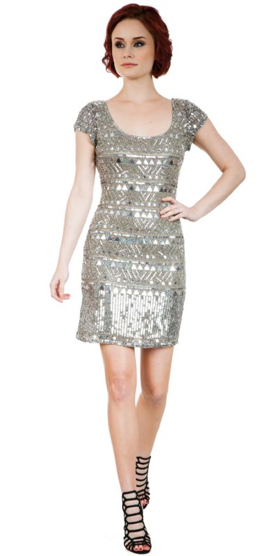 Fully Sequined Short Sleeves Prom Homecoming Dress