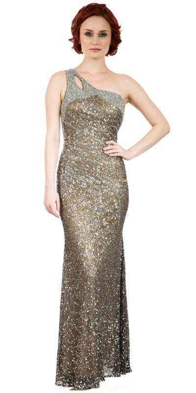One Shoulder Sparkling Beads & Sequins Long Prom Dress