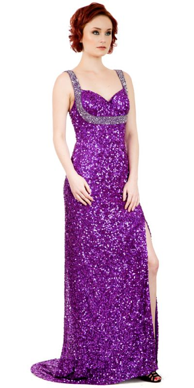 Broad Straps Front Slit Sequined Long Formal Prom Dress