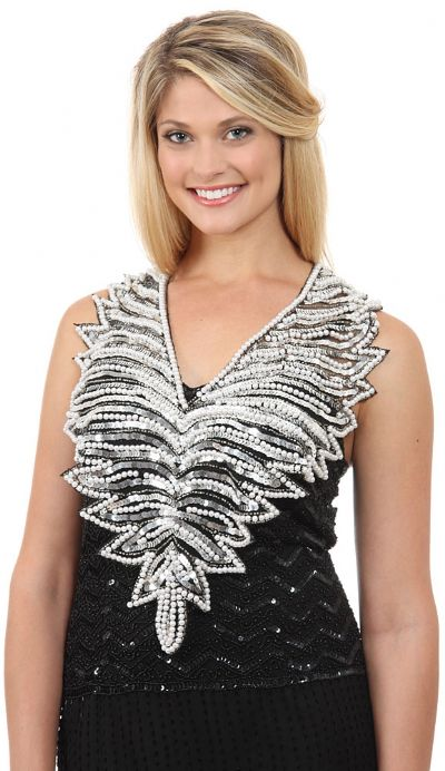 V-Neck Pearls & Sequins Mesh Collar Scarf