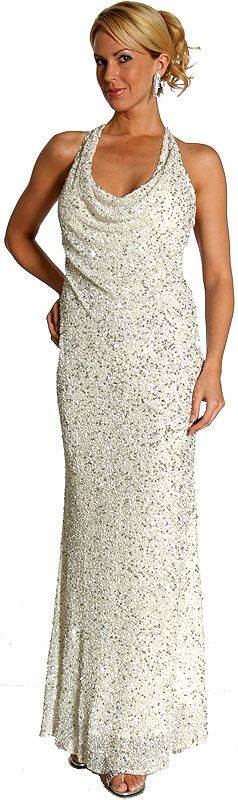 Silver Sparkled Full Length Formal Dress